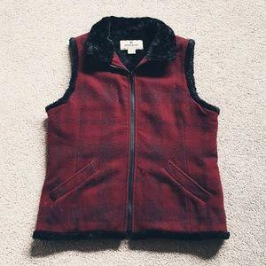 Woolrich Red Black  Plaid Wool Fur Vest Size M